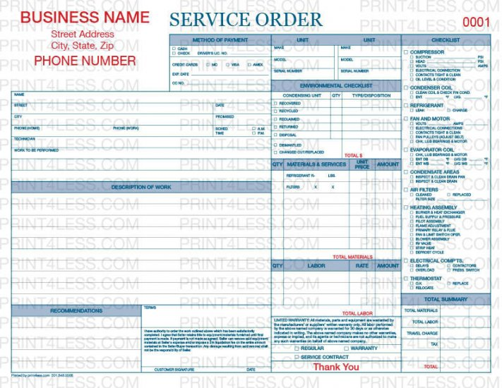 HVAC P Service Order Carbonless Form Print Less Business - Hvac service order invoice