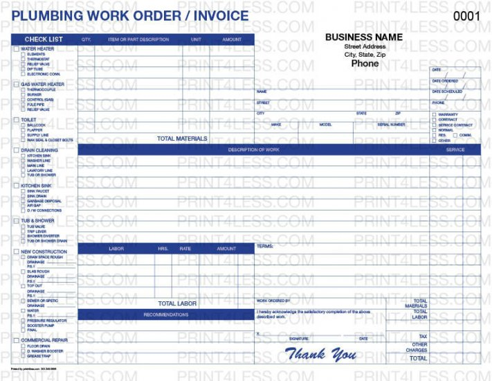 Plumbing P-6535 Invoice Carbonless Form : Print 4 Less Business