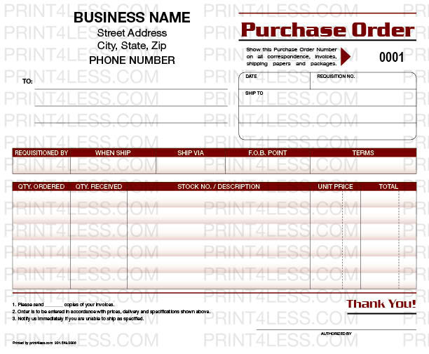 General P-4588 Purchase Order